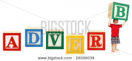 Colorful alphabet blocks spelling the word ADVERB