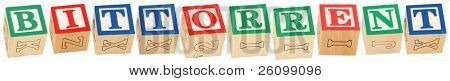 Colorful alphabet blocks spelling the word BitTorrent