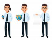 Business Man, Set Of Three Poses. Cartoon Character Holding Smartphone, Holding Gift Box And Holding poster