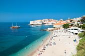 pic of fortified wall  - Panoramic view on the beautiful beach in Dubrovnik - JPG