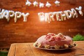 Birthday Party With Pink Birthday Cake On A Wooden Background And Inscription Happy Birthday poster
