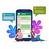 The Girl Next To A Huge Phone. Chat In Social Network On The Internet. Chat With Friends In The Mess poster