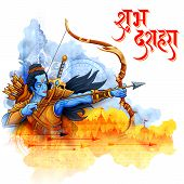 Lord Rama With Arrow In Dussehra Navratri Festival Of India Poster poster