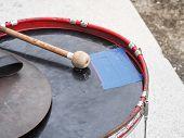 Retro Percussion Musical Instrument. Military Drum (bass Drum) With Drum Sticks. poster