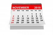 2018 Year Calendar. November Calendar On A White Background. 3d Rendering poster