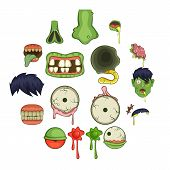 Zombie Parts Icons Set. Cartoon Illustration Of 16 Zombie Parts Icons For Web poster