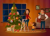Happy Family Mom, Dad And Doughter Dresses Up Christmas Tree. The Boy Unwinds The Garland. Family In poster