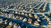 Curved Street On Neighborhood Layout Urban Development Aerial Drone View High Above Suburb Neighborh poster