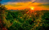 Sun Burst Star Flares Over The Greenbelt In Austin , Texas , Usa A Green Landscape Of Summer Time Bl poster
