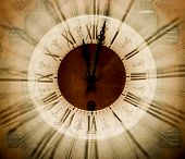 Vintage clock blurred in