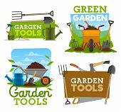 Gardening Tools And Equipment, Garden Work Isolated Icons. Shovel, Rake And Fork, Wheelbarrow With G poster