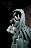stock photo of s10  - Man wearing respirator or gas mask - JPG