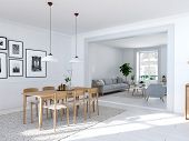 Modern Nordic Dining Room In Loft Apartment. 3d Rendering poster