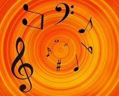 foto of musical instruments  - Music notes background - JPG