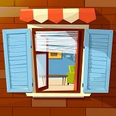 House Facade Open Window Illustration Of Window With Open Wooden Shutters And Room Interior View Ins poster