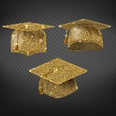 Vector Golden Graduation Cap, Shining Symbol Of Education In University Or College. Master Degree, A poster
