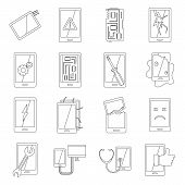Device Repair Symbols Icons Set. Outline Illustration Of 16 Device Repair Symbols Icons For Web poster