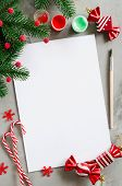 Christmas Mock Up For Greeting Card Or Letter For Santa. Xmas Background With Empty White Paper, Pai poster