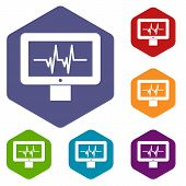 Electrocardiogram Monitor Icons Set Rhombus In Different Colors Isolated On White Background poster