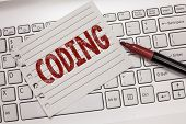 Text Sign Showing Coding. Conceptual Photo Assigning Code To Something For Classification Identifica poster