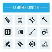 Set Of 12 Editable Mechanic Icons. Includes Symbols Such As Build, Settings, Mechanic Cogs And More. poster
