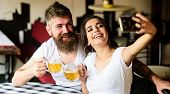 Couple Cheerful Mood Drinking Beer In Pub. Take Selfie Photo To Remember Great Date In Pub. Man Bear poster