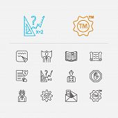 Law Icons Set. Lawyer And Law Icons With Justice, Corrupt And Math. Set Of Contact For Web App Logo  poster