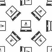 Laptop With Lock And Password Form Page On Screen Isolated Icon Seamless Pattern On White Background poster