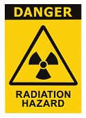stock photo of nuclear disaster  - Radiation hazard symbol sign of radhaz threat alert icon black yellow triangle signage text isolated - JPG