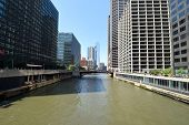 View Of Chicago Cityscape From Chicago River Illinois, United States Under A Clear Blue Sky poster