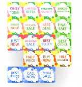 Set Of Colorful Abstract Seamless Sale Stickers. Multicolor Circles On White Background. Elements Fo poster