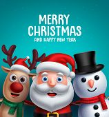 Christmas Characters Vector Illustration And Merry Christmas Greeting. Santa Claus, Reindeer And Sno poster