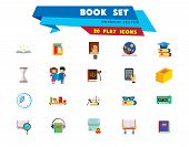 Book Icon Set. Book Stack Magnifier Notebook In Hands Glasses Shelf E-book Open Book Children Tales  poster