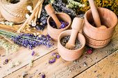 Herbal Tea, Preparation Of Medicinal Herbs, Mortar, Non-traditional Medicine, Ayurveda, Wooden Backg poster