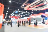 Exhibition Event Hall Blur Background Of Trade Show Business, World Or International Expo Showcase,  poster