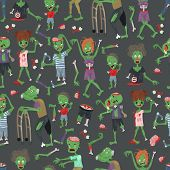 Vecctor Zombie Cartoon Halloween Magic People Body Parts, Green Skin Human Organs Zombie Man And Wom poster