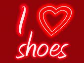 foto of high heel shoes  - Red and pink sign with glow stating I heart shoes - JPG
