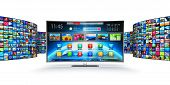 3d Render Illustration Of Modern Curved Smart Television Screen Display Monitor With Endless Walls O poster