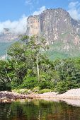 stock photo of canaima  - Auyan Tepuy with Angel Falls  - JPG
