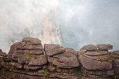 foto of canaima  - Mount Roraima landscape  with clouds background - JPG