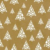Seamless Repeat Vector Pattern Abstract Hand Drawn Christmas Trees White On Brown Craft Paper. Great poster