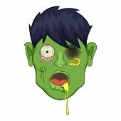 Zombie Head Icon. Cartoon Illustration Of Zombie Head Icon For Web poster