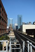 Chicago Transit Elevated Subway Train Tracks, Railroad Tracks Running Eastbound Parallel Off Into Th poster