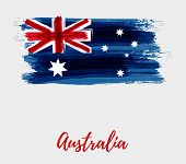Australia Flag Background. Abstract Grunge Brushed Flag Of Australia For Your Designs. poster