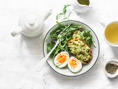 Healthy Breakfast Or Snack - Boiled Egg, Arugula Salad And Avocado Toast On A Light Background, Top  poster