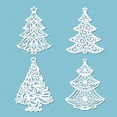 Set Of Patterns For Laser Cutting. Christmas Tree. For The Design Of Greeting Cards, Congratulations poster