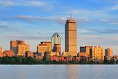 stock photo of prudential center  - Boston city skyline with Prudential Tower and urban skyscrapers over Charles River - JPG