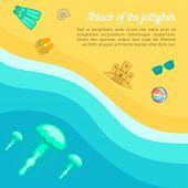 Sea Rest Concept Beach Jellyfish. Cartoon Illustration Of Sea Rest Concept For Web poster