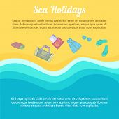 Sea Rest Concept Beach Items. Cartoon Illustration Of Sea Rest Concept For Web poster