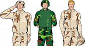 stock photo of army soldier  - Set of three male soldier color illustrations - JPG